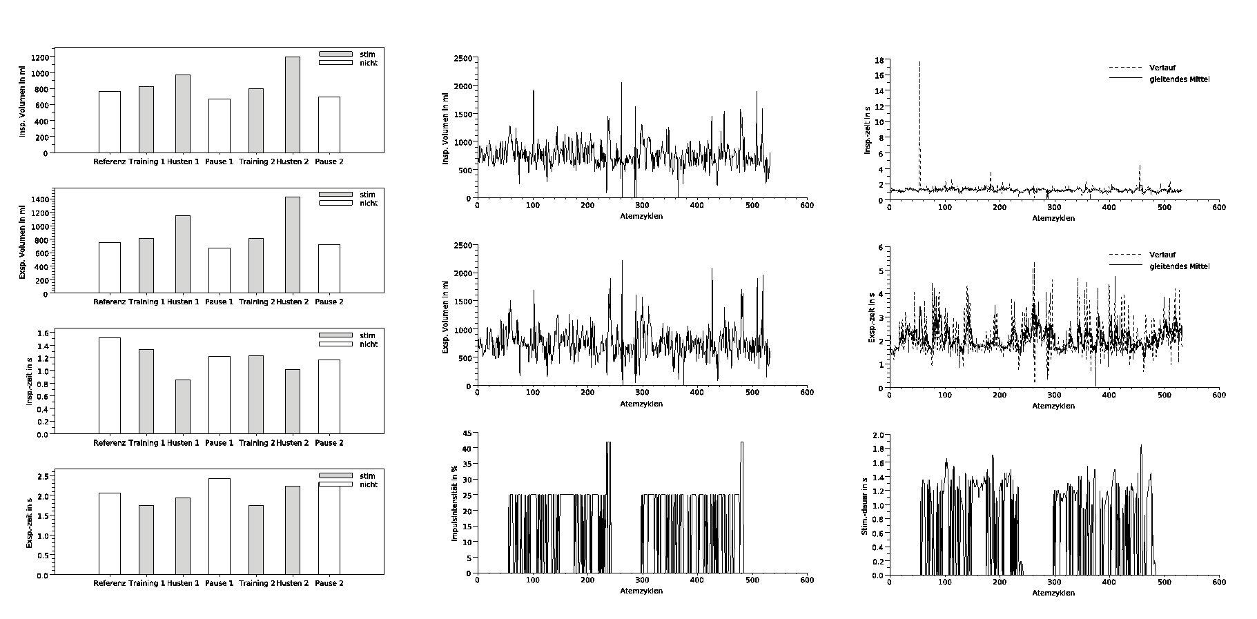 Auszug der Diagramme im erstellten PDF-Protokoll